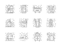 Collection of flat line bathroom icons Stock Image