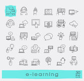 Collection of flat line e-learning icons. Stock Photo