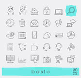 Collection of flat line universal icons. Stock Images