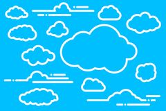 Collection of flat linear white paper clouds for ui, web, social. Media design template on blue background Stock Photos