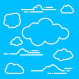 Collection of flat linear white paper clouds for ui, web, social. Media design template on blue background Royalty Free Stock Image