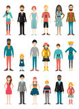 Collection of flat people figures. Various age period. Stock Photography