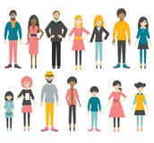 Collection of flat people figures. Royalty Free Stock Image