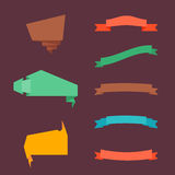 Collection of flat style ribbons and banners Stock Images