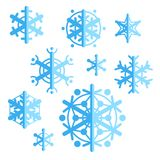 Collection of flat style vector snowflakes. Set of winter icons. Royalty Free Stock Images