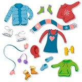 Collection of flat style winter clothing items: scarf, gloves. Set of winter clothing illustrations in flat  style Royalty Free Stock Photo