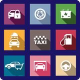 Collection of flat transport icons. Collection of flat transport or automotive icons with cars, locking, wheel, battery, car wash, taxi, fuel pump, shopping Royalty Free Stock Photography