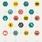 Collection of flat trawel icon. Stock Photos