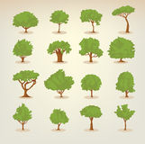 Collection of flat trees Stock Images