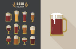 Collection of flat vector Beer glasses Stock Photo