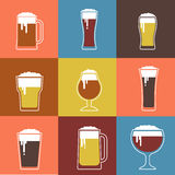 Collection of flat vector Beer glasses Royalty Free Stock Photography