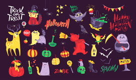 Collection of flat vector halloween traditional decoration elements  on dark background. Stock Image