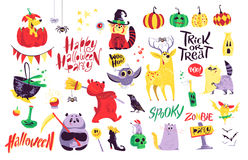 Collection of flat vector halloween traditional decoration elements  on white background. Funny spooky animals in costumes. Good for party invitation, flyer Stock Photo
