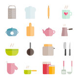 Collection of flat vector kitchen icons for web, print, mobile apps Royalty Free Stock Photography