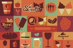 Collection of flat vintage retro food icons, flat design Royalty Free Stock Photography