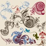 Collection of floral decorative elements Royalty Free Stock Image