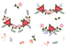Collection of floral design elements. Beautiful wreaths and single flowers isolated on white background.  royalty free illustration