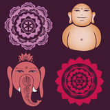 Buddah collection of floral esoteric designs Stock Photos