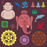 Buddah collection of elements on yoga Stock Photos