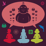 Collection of elements on yoga Royalty Free Stock Photos