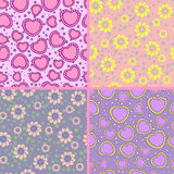 Collection of floral and hearts patterns Stock Photos