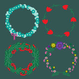 Collection of floral wreaths Stock Photography