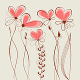 Collection florale de coeurs Image stock