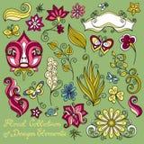 Collection florale de vecteur d'éléments tirés par la main de conception Photographie stock