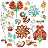 Collection florale de vecteur d'éléments tirés par la main de conception Photo stock