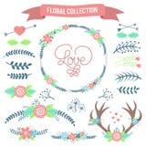 Collection florale Ensemble de rétros fleurs et branches mignonnes Photos stock