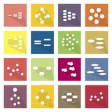 Collection of 16 Flow Chart Diagram Icons Stock Photos