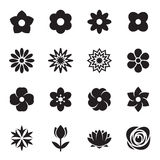 Collection of flower icons isolated on a white background. Vector illustration Stock Photography