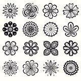 Collection of flowers. Collection of 16 different stylistic flowers Royalty Free Stock Images
