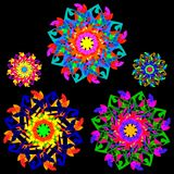 Collection of flowers in a kaleidoscope style with many elements Stock Photo