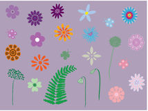 Collection of flowers and plants. Vector illustration of a collection of flowers, plants and butterflies Stock Photo