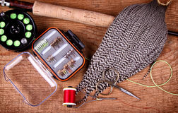 Collection of fly tying and fishing equiptment Stock Photography