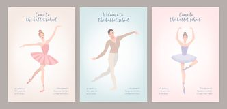 Collection of flyer templates with elegantly dressed male and female ballet dancers in various poses. Flat cartoon. Vector illustration for classic dance or Royalty Free Stock Images