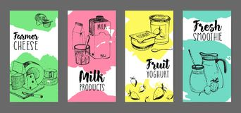 Collection of flyers with dairy products advertisement - farmer cheese, milk, fruit yogurt, fresh smoothie hand drawn on. White background with bright colored Royalty Free Stock Image
