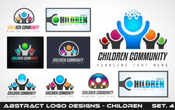 Collection fo Creative Children Community Logo designs Stock Photography