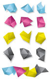 Collection of folded geometric abstract shapes Royalty Free Stock Photos