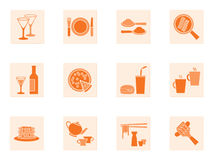 Collection of food and beverage icons Royalty Free Stock Photography