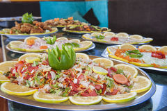 Collection of food dishes at buffet Stock Image