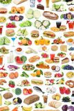 Collection of food and drink background collage healthy eating f. Ruits vegetables portrait format fruit drinks isolated on a white background royalty free stock photo