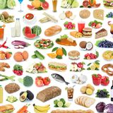 Collection of food and drink background collage healthy eating f. Ruits vegetables square fruit drinks isolated on a white background royalty free stock images