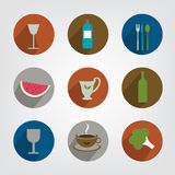 Collection of food and drink icon. Royalty Free Stock Photo