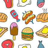 Collection of food and drink style doodles Stock Image