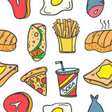 Collection of food element various doodles Royalty Free Stock Photo