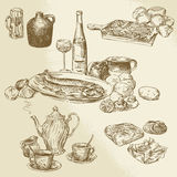 Collection of food royalty free illustration
