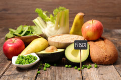Collection of food high in fiber stock photo