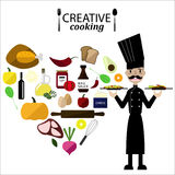 Collection of food ingredients with Chef,Creative Cooking royalty free stock photography